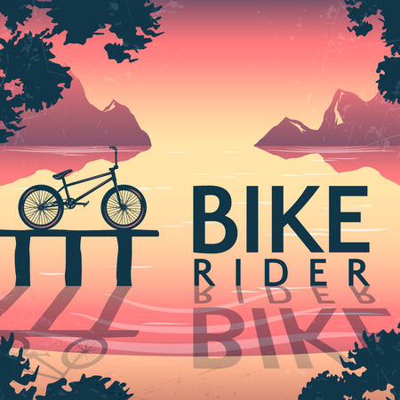 lake sunset: BMX bike riding poster with bicycle on pedestal and inscription over mountain lake at sunset vector illustration Illustration