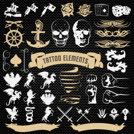 black roses: Tattoo elements decorative icons set with edged weapon mythological animals on black textural background isolated vector illustration