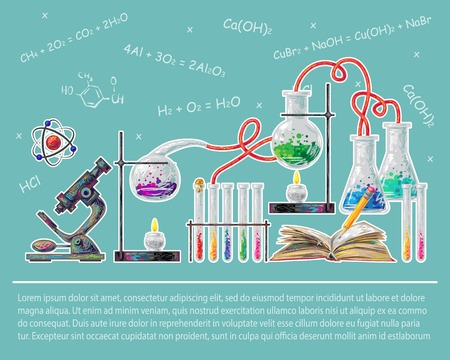carrying out: Science colored poster with chemical formulas and process of carrying out experiments vector illustration