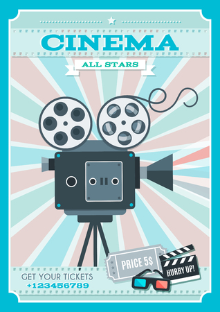 film title: Cinema retro style poster with projector in center on background of alternating pink blue rays vector illustration