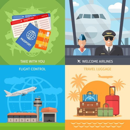 Air travel concept with passport banking card ticket pilot stewardess flight control luggage isolated vector illustration