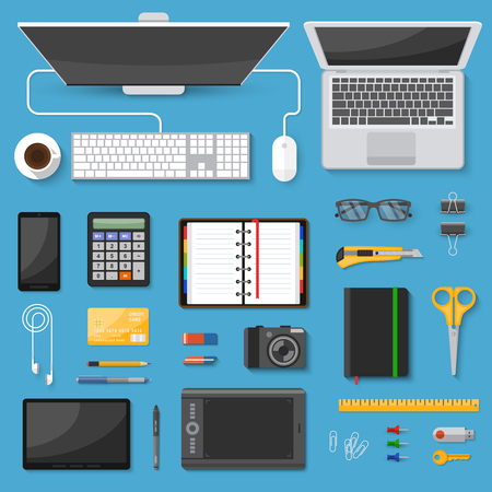 Workspace top view decorative icons set with gadgets coffee organizer stationery on blue background isolated vector illustration