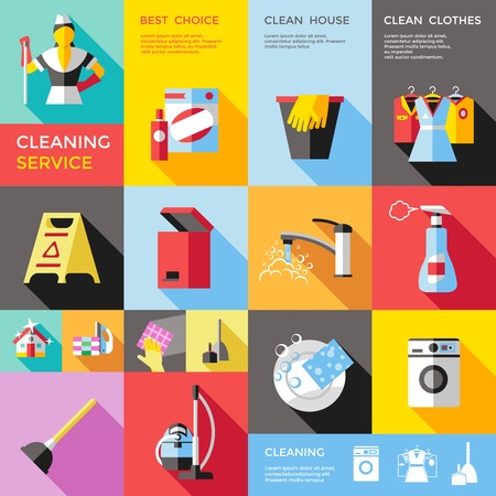 rags: Cleaning service decorative flat icons set with bin tap clothes ironing machine dishes bucket isolated vector illustration Illustration