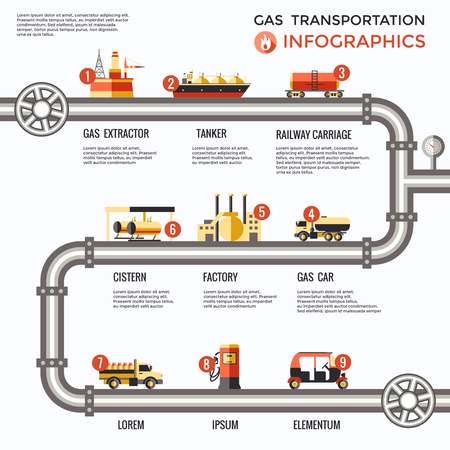 Gas transportation infographics with delivery process from production platform to consumers on white background vector illustration Illustration