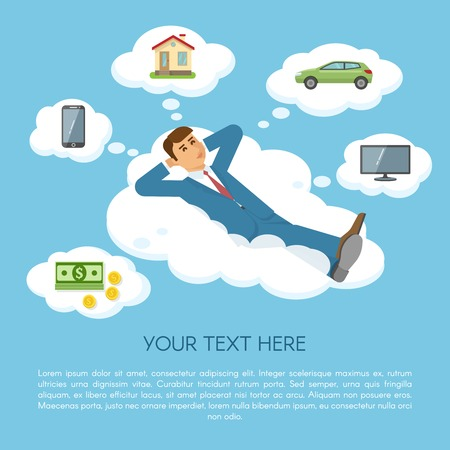 Dreaming about things concept a man in blue suit lies on cloud and dreaming about things that bring him joy vector illustration