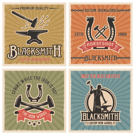 ironworks: Blacksmith retro icon set with descriptions of custom ironworks strike while the iron is hot only the best artists vector illustration