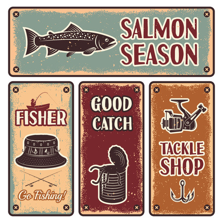 fishing tackle: Four horizontal and vertical fishing iron emblem set with description of salmon season go fishing tackle shop vector illustration Illustration