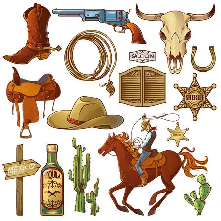 Wild west elementen set met pictogrammen cowboy iconen cowboys apparatuur en veel verschillende accessoires vector illustratie
