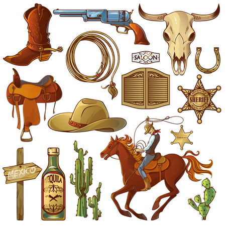 accessories horse: Wild west elements set with icons cowboy icons cowboys equipment and many different accessories vector illustration Illustration