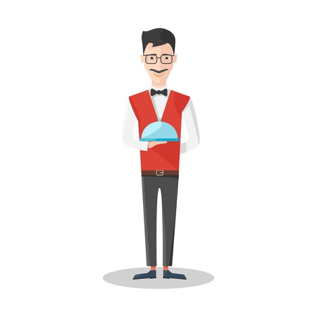 mustached: Waiter emotions icon mustached man with glasses in red vest holds a tray vector illustration