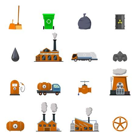affecting: Environmental pollution icon set buildings and structures affecting environmental situation vector illustration
