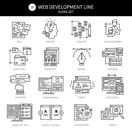 debug: Web development black line icon set with descriptions of programming errors ideas creative debug optimization responsive par example vector illustration