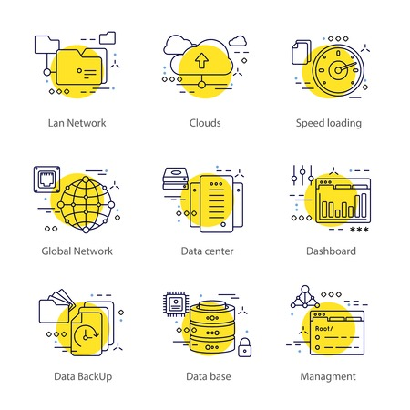 lan: Datacenter line concept with a list of different topics lan network clouds speed loading dashboard for example vector illustration