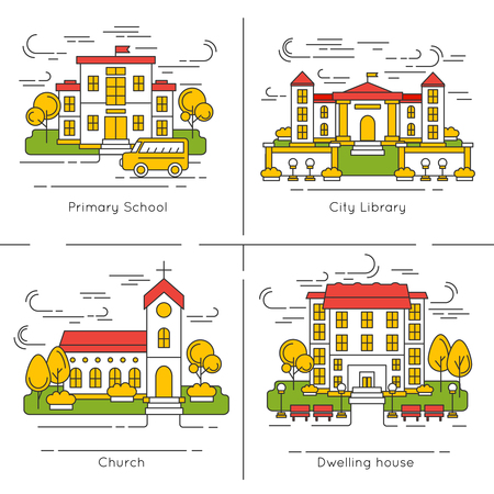dwelling house: Building icon set with descriptions of primary school city library church and dwelling house vector illustration