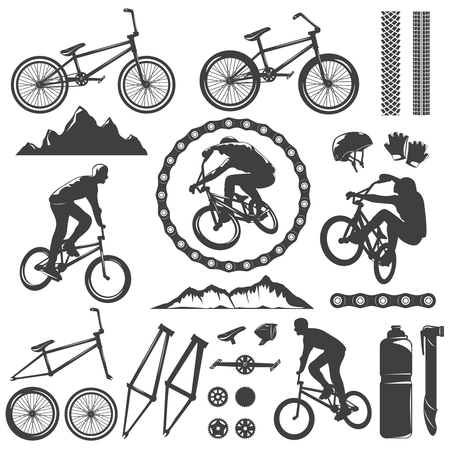 dirt bike: BMX decorative graphic icons set with bike bicyclist chain frame pedal rock track helmet isolated vector illustration