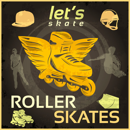 sportsmen: Roller skates vintage poster with yellow boot with wings in center sportsmen on black background vector illustration