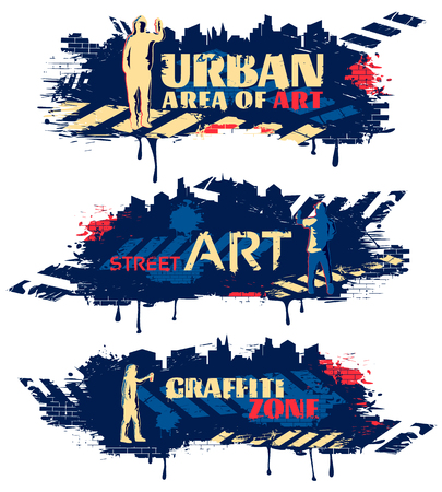 dark street: Street art horizontal banners with silhouettes of painters crosswalks spots on dark blue background isolated vector illustration