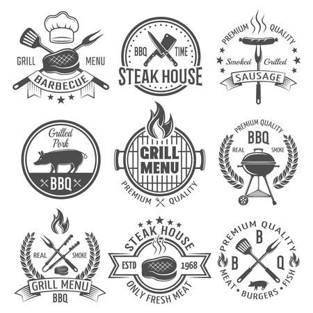 tongs: BBQ graphic flat emblems with grill tongs forks spatulas roasted meat sausage fire cap isolated vector illustration