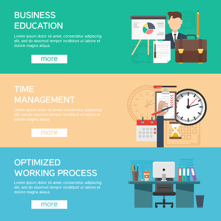 optimized: Horizontal office flat banner set with description of business education time management and optimized working process vector illustration Illustration