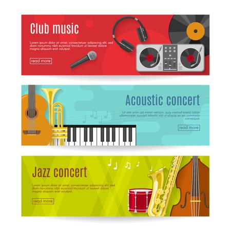 drum and bass: Three horizontal flat music banner set with headlines club music acoustic concert jazz concert vector illustration Illustration