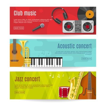 bass drum: Three horizontal flat music banner set with headlines club music acoustic concert jazz concert vector illustration Illustration