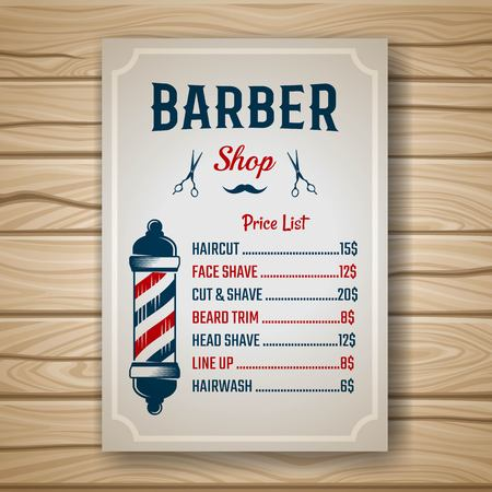 haircuts: Barber shop colored price or brochure list with prices at the hairstyles and haircuts on table vector illustration