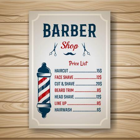 Barbiere prezzo o di un elenco opuscolo colorato con i prezzi alle acconciature e tagli di capelli sul tavolo illustrazione vettoriale Archivio Fotografico - 58296627