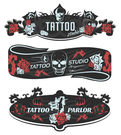 Tattoo studio horizontal banners with roses skull fists machines on black background with pattern isolated vector illustration Illustration