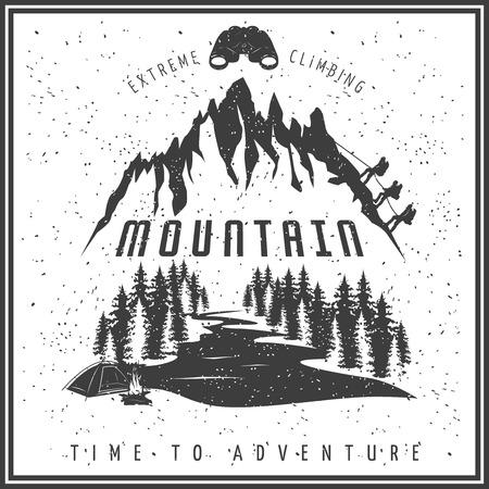 극단적 인 등반 검은 흰색 포스터 바위와 팀 상승 산 강 숲 쌍안경 모닥불 벡터 일러스트 레이션 일러스트