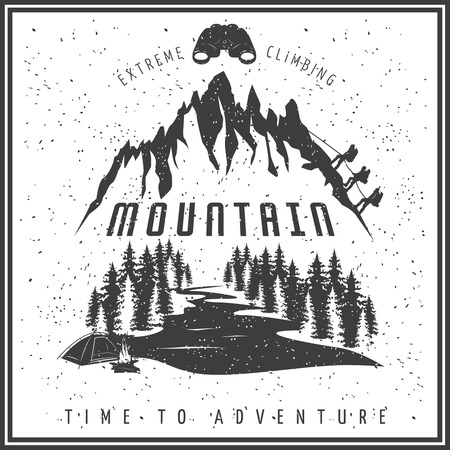 snow climbing: Extreme climbing black white poster with rock rising team mountain river forest snow binoculars bonfire vector illustration