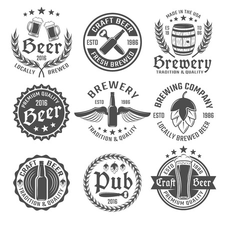 brewed: Beer round emblem or label set with descriptions of locally brewed beer craft beer premium quality vector illustration