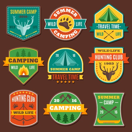 animal track: Summer camping colorful emblems with axe antlers boat tent animal track on brown background isolated vector illustration Illustration