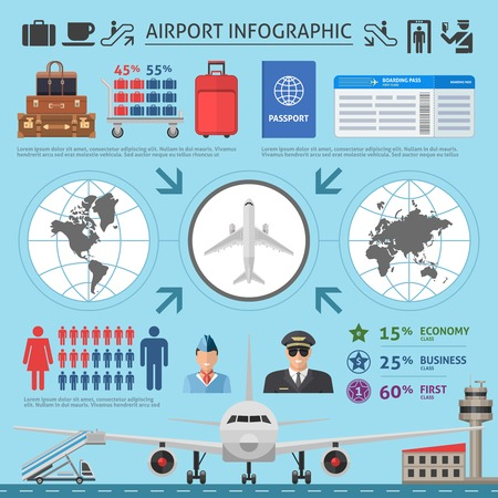 passenger airline: Airport infographics template with airplane world map runway luggage pilot and statistics on blue background vector illustration