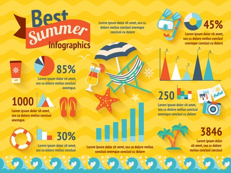 summer holiday: Beach summer colored infographic with elements types of holiday and their percentage vector illustration