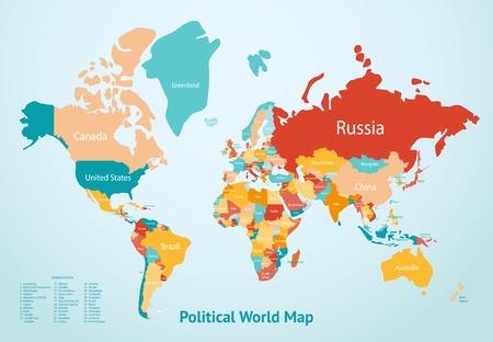 Mappa della Terra con i paesi divisi per colore e la descrizione del mondo politico illustrazione mappa vettoriale