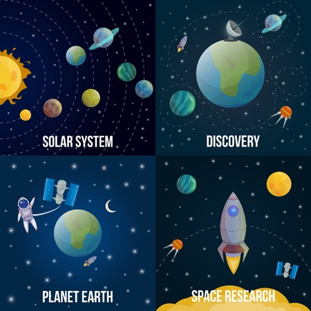 earth cartoon: Four square space universe colored icon set with descriptions of solar system discovery planet earth and space research vector illustration Illustration