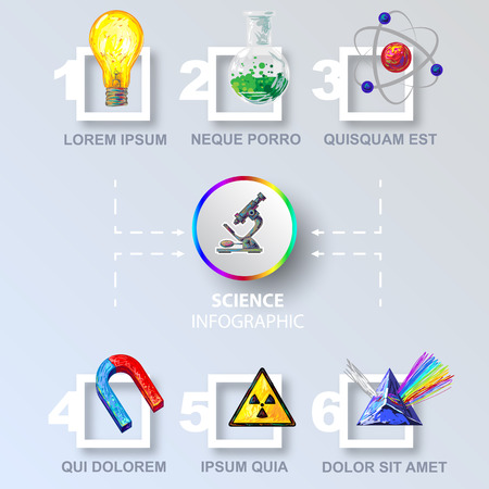 realization: Science colored infographic step by step from idea to realization on grey background vector illustration