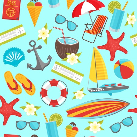 pale cream: Summer travel seamless pattern with anchor boarding pass ship drink passport on pale blue background vector illustration Illustration