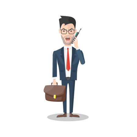 red tie: Angry businessman with mobile phone brown briefcase glasses red tie on white background isolated vector illustration Illustration