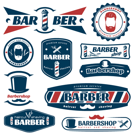 barber scissors: Barber blue red labels with razor comb scissors hat male face mustache pole isolated vector illustration