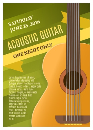 date night: Guitar music poster with date of concert and headline acoustic guitar one night only vector illustration