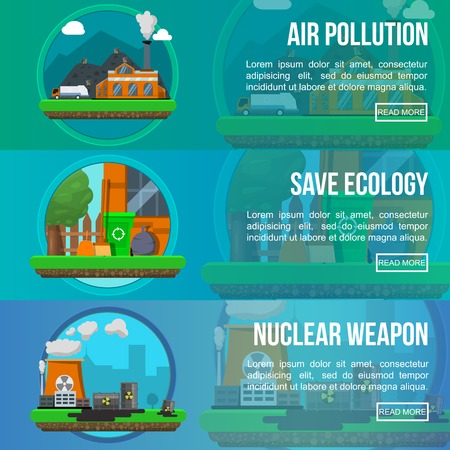 nuclear weapon: Environmental pollution colored banner set with descriptions of air pollution save ecology and nuclear weapon vector illustration