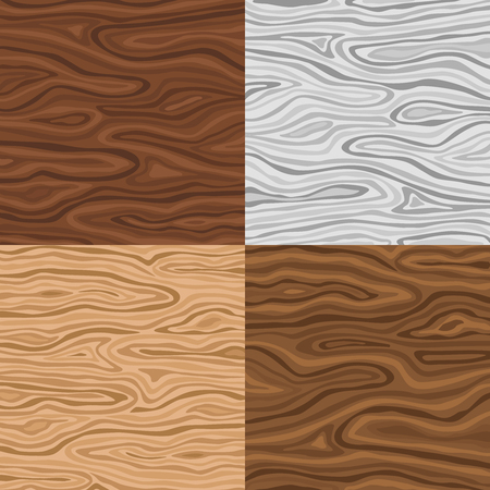 forniture: Wooden seamless backgrounds set in grey sand and brown colors with wavy pattern isolated vector illustration