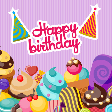 textural: Happy birthday composition with red inscription party hats colorful desserts on light violet textural background vector illustration Illustration