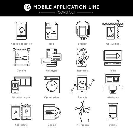 prototype: Mobile Application Line Icon Set with descriptions of coding design prototype wireframe optimization statistics in line style vector illustration Illustration