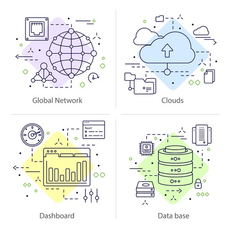 datacenter: Four colored square datacenter icon set with descriptions of global network clouds dashboard and data base vector illustration Illustration