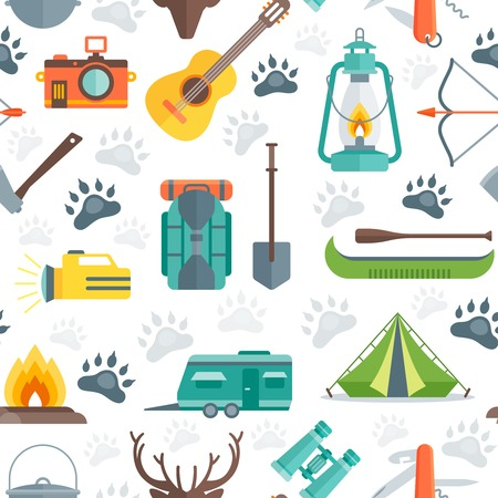 boat motor: Camping seamless pattern with animal tracks tent boat flashlight guitar motor home on white background vector illustration Illustration