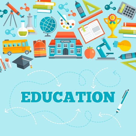 below: Education flat design with school building learning tools bus and inscription below on blue background vector illustration