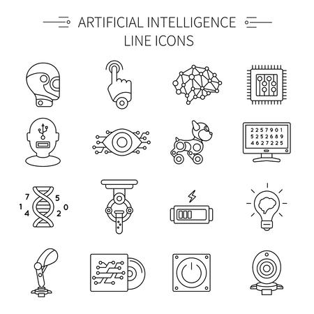 Artificial icono de la línea de inteligencia conjunto con diferentes Vaus o tipos de robots y piezas de ilustración vectorial