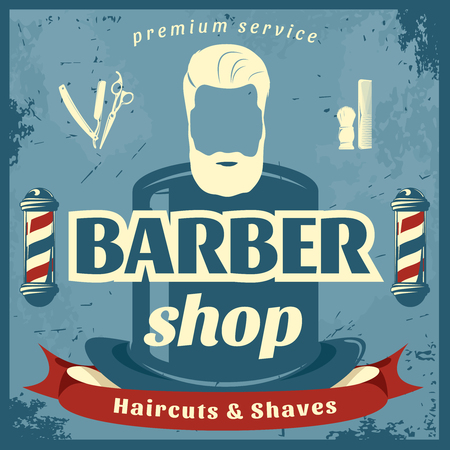 barber: Barber shop retro style poster with top hat poles brush razor comb on blue background vector illustration